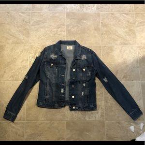 Dark Wash Distressed Denim Jacket